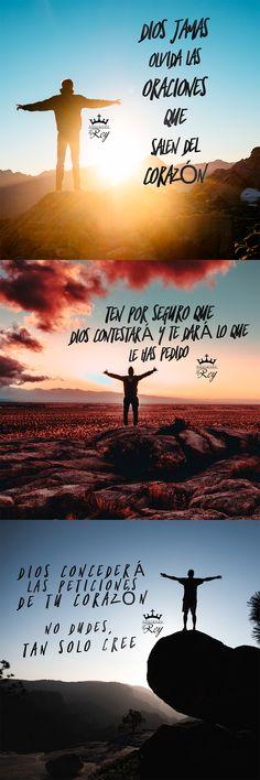 Dios jamas olvida las oraciones que salen del corazón. Ten por seguro que Dios contestará y te dará lo que has pedido. Dios concederá las peticiones de tu corazón. No dudes, tan sólo cree #frasescristianas #frasesdedios #frasedeldia #FE #oracion #oraciones #amen #locreo #cristovive #cristianos #cristianismo #aleluya #Dios #Jesus #EspirituSanto #avivamiento #AdorandoalRey
