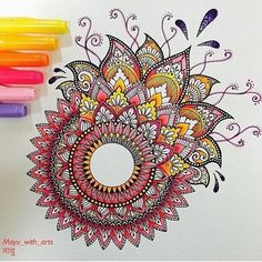 40 illustrated mandala drawing ideas and inspiration. Learn how you can draw mandalas step by step. This tutorial is perfect for all art enthusiasts. Mandala Doodle, Mandala Art Lesson, Mandala Artwork, Mandala Painting, Mandala Drawing, Doodle Art, Painting & Drawing, Mandala Sketch, Easy Mandala