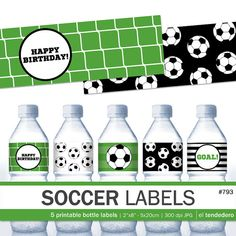 Soccer printable water bottle labels Soccer labels by eltendedero