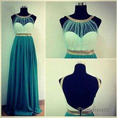 Deep green round neck long halter prom dress from #promdress01, ball gown, cute dresses for teens #coniefox #2016prom