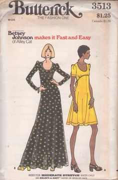 Butterick 3513 Vintage 70's Sewing Pattern GLAM Young Designer Betsey Johnson of Alley Cat Scoop Neck Shaped Empire Waist Tie Back Knit Dress, Maxi Gown