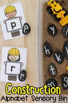 Fine Motor Activities For Kids, Alphabet Activities, Preschool Activities, Preschool Letters, Alphabet Letters, Construction Theme Classroom, Construction For Kids, Teaching The Alphabet, Learning Letters