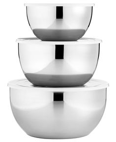 Martha Stewart Collection Covered Mixing Bowls, Set of 3 Stainless Steel.  Available at Macy's.