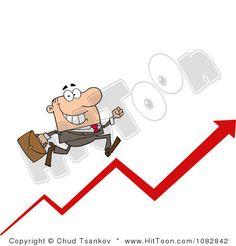 Business Man Running Up An Arrow