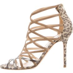 Pre-owned Jimmy Choo Metallic Suede Sandals ($225) ❤ liked on Polyvore featuring shoes, sandals, black, pre owned shoes, patterned shoes, zipper sandals, metallic shoes and leopard sandals