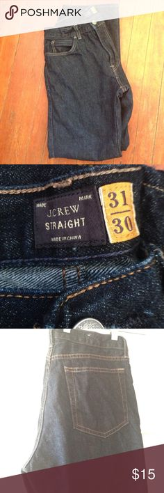 "J. Crew Straight Jean in Resin Crinkle Wash Classic straight jean. 31"" x 30"". Zip fly. Indigo dyed. Dark blue wash. Worn only a handful of times. Waist 31"". Length 30"". J. Crew Jeans Straight"
