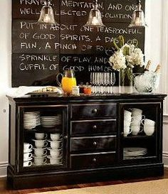 Love this idea for a coffee sideboard in the dining room