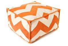 Chevron Outdoor Pouf, Orange