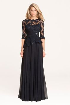 Teri Jon Lace and Chiffon Peplum Gown | Teri Jon