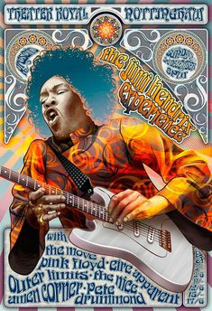 Jimi Hendrix and Pink Floyd concert poster, Nottingham. OMG David Gilmour and Jimi Hendrix together! Rock Posters, Band Posters, Affiche Jimi Hendrix, Rock And Roll, Pink Floyd Concert, Concert Rock, Jimi Hendricks, Illustration Photo, Illustrations
