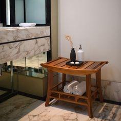 Teak Shower Bench With Shelf Wood Bathroom Storage Spa Essentials Decor  Durable Part 59