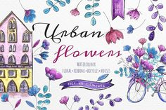 Urban flowers - Watercolor set by zzorna art on @creativemarket