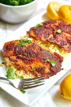 Blackened tilapia recipe. Make it for fish tacos with an avocado cream spread!
