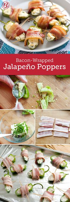 Bacon-Wrapped Jalapeno Poppers - Serve this quick-prep appetizer at your next game-day gathering, and watch guests go wild for the irresistible combination of spicy peppers, crispy bacon and velvety cream cheese. Bacon Wrapped Jalapeno Poppers, Green Beans With Bacon, Cooking Recipes, Healthy Recipes, Game Day Food, Appetisers, Fabulous Foods, Appetizer Recipes, Entrees