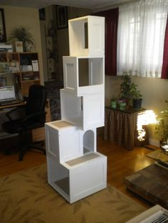 Custom Hand Crafted Cat Furniture/Scratcher doubles as Home Shelving