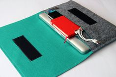 "13"" inch Apple Macbook Pro laptop Organizer Case Cover - Gray & Aquamarine - Weird.Old.Snail"