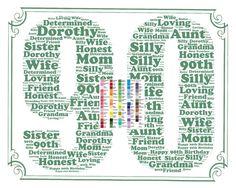 Ninety Ninetieth Birthday Gift Idea Personalised 90th Birthday Word Art Gift