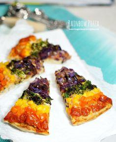 Rainbow Pizza With Kale parmesan Crust @novicegardener