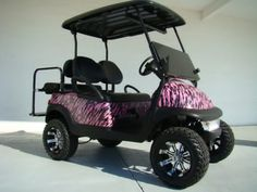 Golf Cart Seats, Beach Cart, Custom Golf Carts, Golf Cart Accessories, Go Camping, Camping Stuff, Car Pictures, Car Pics, Pink Camo