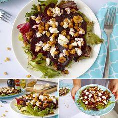Salát z červené řepy s kozím sýrem - zdravý recept Bajola Cobb Salad, Recipes, Food, Essen, Meals, Ripped Recipes, Yemek, Cooking Recipes, Eten