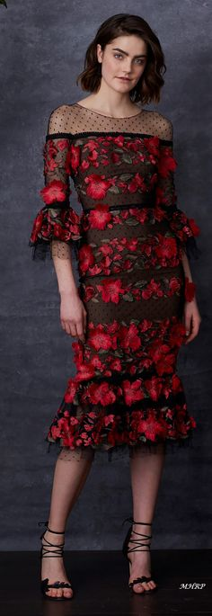Marchesa Notte Pre-Fall 2018_ image pinned from marchesa.com Fashion Brands, High Fashion, Womens Fashion, Marchesa, Dress Skirt, Dress Up, Floral Fashion, Fashion Design, Winter Typ