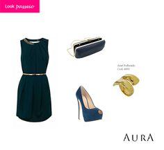 Mais uma #ideia de #look para as festas de fim de ano! ;) #azul #tendencias #moda #joias #auraprata (Cod. do #anel: 4896)