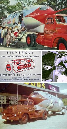 "The Silvercup Rocket not only set the bar for future traveling promotional rockets, it was built better than most of them as well. Custom crafted in the truck workshops of Detroit-based Gordon Baking Company, the tubular trailer was packed with electronics to impress visitors – an estimated 100,000 of whom checked out the rocket at the 1954 Michigan State Fair and were given miniature loaves of Silvercup Bread (""The Official Bread of All Spacemen"") as souvenirs."