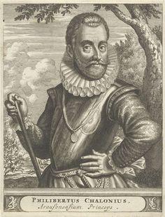 Christiaan Hagen | Portret van Philibert van Chalon, Christiaan Hagen, c. 1635 - 1695 | Portret ten halven lijve van Philibert van Chalon, eerste prins van Oranje, gekleed in een harnas met in zijn rechterhand een commandostaf. Op de achtergrond is een ruiterslag afgebeeld. Onder zijn portret een plint, waarop zijn naam en titel in twee regels in een cartouche.