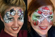 Snowmen (and ladies) SO original! Face Painting Designs, Body Painting, Face Paint Party, Ideas Decoracion Navidad, Days Till Halloween, Facepaint Ideas, Christmas Face Painting, Make Up Art, Maquillage Halloween