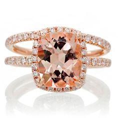 BRIDAL SET 18K Rose Gold 9x7 Cushion Cut Diamond Halo Morganite Engagement Ring Wedding Anniversary Ring by SAMnSUE on Etsy https://www.etsy.com/listing/209542663/bridal-set-18k-rose-gold-9x7-cushion-cut