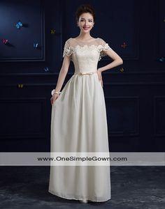 577eb212bf0 Champagne Color Chiffon Lace Long Dress Evening Dresses