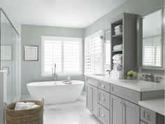 Dreaming of an extravagance or designer master bathroom? We've gathered together lots of gorgeous bathroom suggestions for small or large budgets, including baths, showers, sinks and basins, plus master bathroom decor some ideas. Bathroom Interior Design, Bathroom Styling, Master Bathroom Designs, Master Bath Layout, White Master Bathroom, Gray And White Bathroom Ideas, Master Bathtub Ideas, Bathtub Designs, Master Bedroom