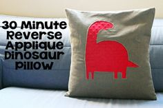 30 Minute Reverse Applique Dinosaur Pillow  - would love to try this with a pug image!