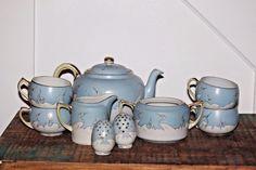 Amazing antique Nippon tea set for 4, plus salt and pepper.  Cranes, blue sky