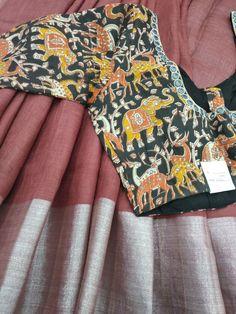 Pure linen with blouse what's app 9047090885 Saree Trends, Blouse Models, Cotton Blouses, Indian Sarees, Color Combos, Blouse Designs, Linens, Goodies, App