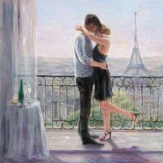 Paris Morning Romance Canvas Art - Karen Wallis (24 x 24)