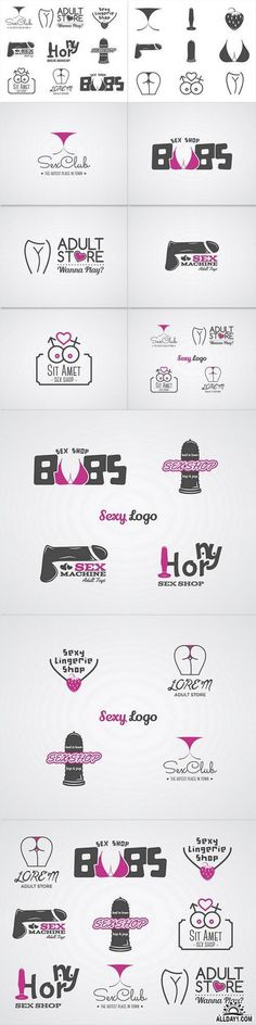 Cute Sex shop logo and badge design template