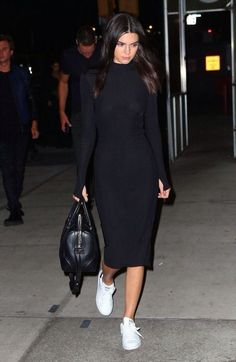 Kendall Jenner style | Like this? Check out: http://www.marahcar.com/2016/03/29/midi-slip-dress/