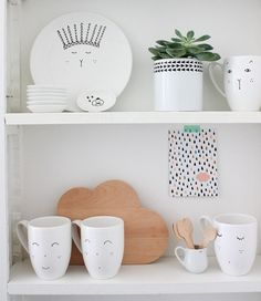 white + black illustrated crockery / dishware / kitchenware   small wooden cloud cut-out / cutting board