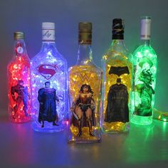Justice - League - Heroes - Luminary - Bottle - Superman - Movie - Wonder Woman - The Flash - Aquaman - Cyborg - Batman - Blinking Light Ideas Decoracion Cumpleaños, Justice League Party, Comic Room, Game Room Decor, Green Led, Bottle Lights, Superhero Party, Bottles And Jars, Bottle Crafts