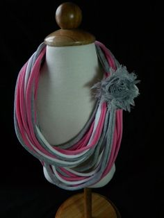 Upcycled T Shirt Scarf Pink Gray White by StylinItUp on Etsy