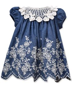 Bonnie Jean Baby Girls' Embroidered Denim Dress - Kids Baby Girl (0-24 months) - Macy's