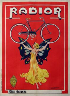 Radior Bicycle Bike Cycles Butterfly Lady Vintage Poster Reproduction FREE S/H Retro Poster, Poster Vintage, Art Vintage, Vintage Ads, Vintage Bikes, Vintage Travel, Vintage Advertising Posters, Vintage Advertisements, School Advertising