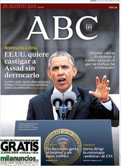 Los Titulares y Portadas de Noticias Destacadas Españolas del 29 de Agosto de 2013 del Diario ABC ¿Que le pareció esta Portada de este Diario Español?