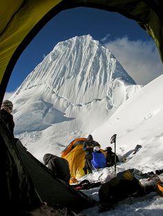 Camping at Alpamayo, Cordillera Blanca de los Andes, Peru.  What a great view waking up