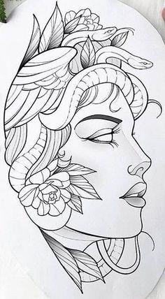Medusa Tattoo Design, Tattoo Design Drawings, Tattoo Designs, Dark Art Drawings, Art Drawings Sketches, Tattoo Sketches, Tattoo Outline Drawing, Outline Drawings, Half Sleeve Tattoos Drawings