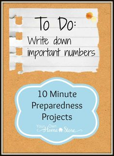 10 min preparedness project from Your Own Home Store: Know Your Numbers