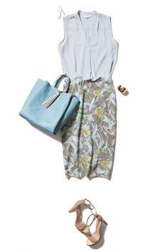 寒色カラーの柄スカートで好感度UPな涼やかコーデ ― B - ファッションコーディネート通販|ビストロ フラワーズ トウキョウ