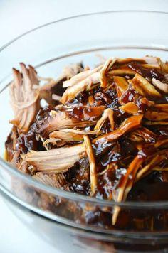 Slow Cooker Balsamic Honey Pulled Pork | recipe via justataste.com