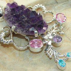 Amethyst Cluster, Blue Topaz & Pink Quartz Sterling Silver Pendant - keja jewelry